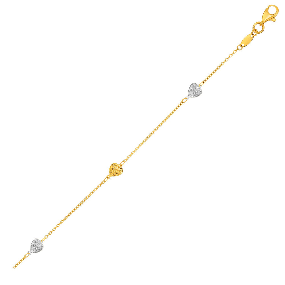 14k Two-Toned Yellow and White Gold Anklet with Textured Hearts