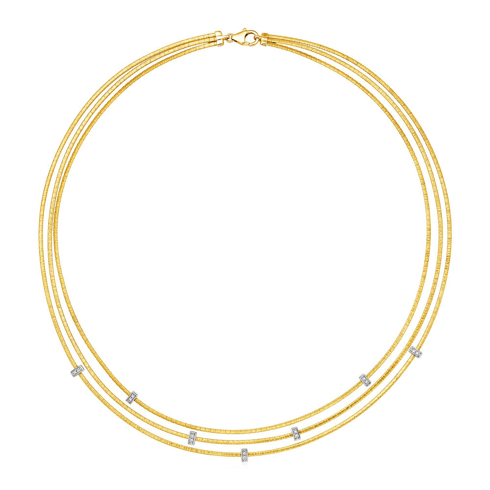 14k Two Tone Gold 17 inch Three Strand Chain Necklace with Diamonds