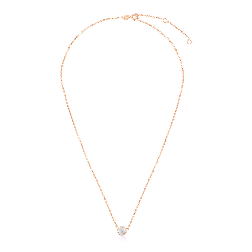 14k Rose Gold 17 inch Necklace with Round White Topaz