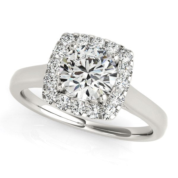 14K White Gold Square Shape Border Round Cut Diamond Engagement Ring (1 1/3 ct. tw.)