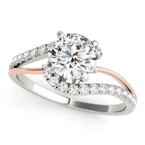 14K White And Rose Gold Round Bypass Split Shank Diamond Engagement Ring (1 1/3 ct. tw.)