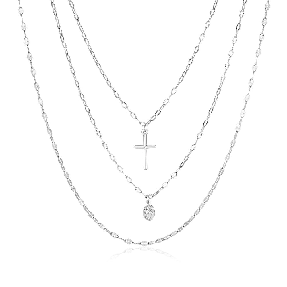 Sterling Silver 18 inch Three Strand Necklace with Cross and Religious Medal