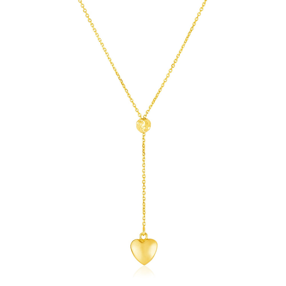14k Yellow Gold Lariat Style Necklace with Heart