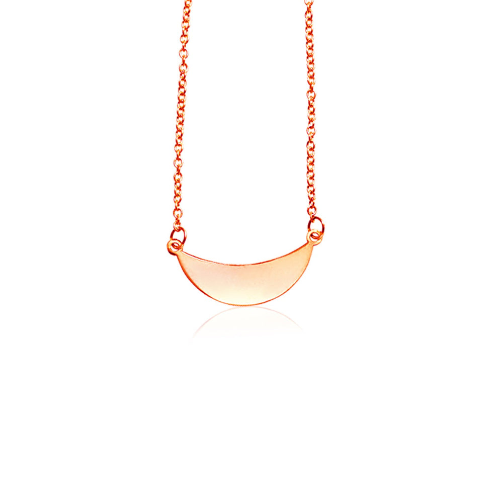 14k Rose Gold 18 inch Necklace with Polished Arc