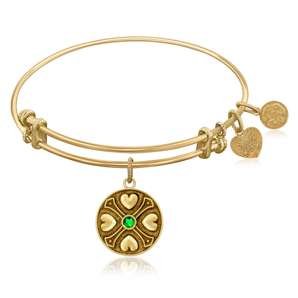 Expandable Bangle in Yellow Tone Brass with Emerald May Symbol