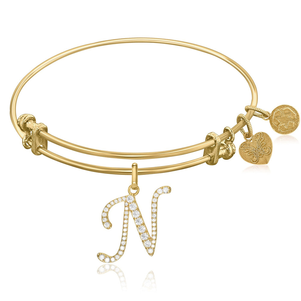 Expandable Yellow Tone Brass Bangle with N Symbol with Cubic Zirconia