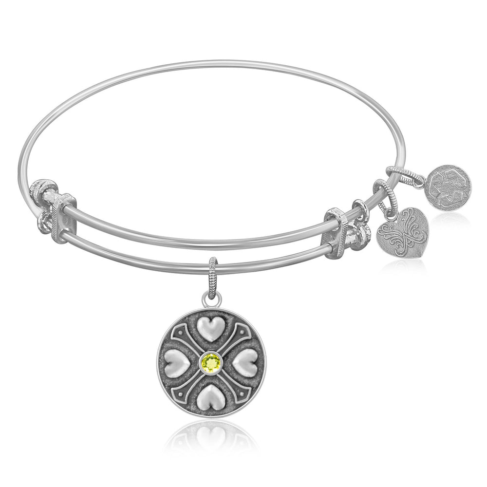 Expandable Bangle in White Tone Brass with Peridot August Symbol
