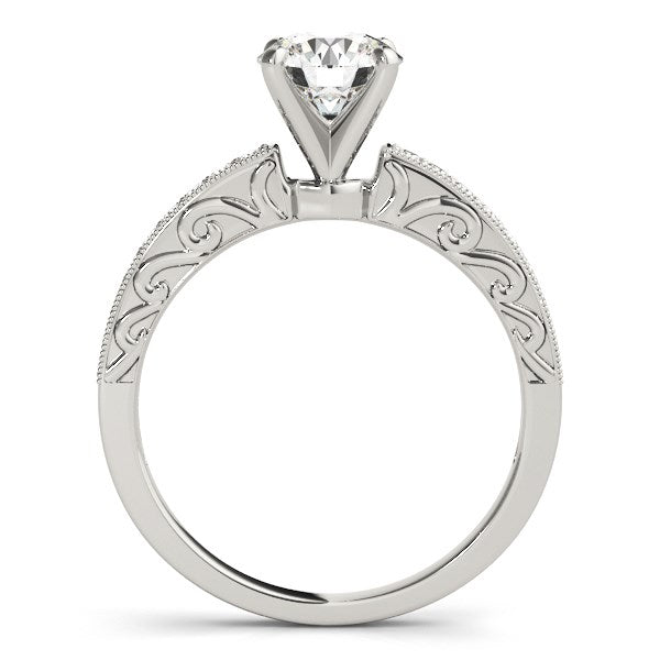 14K White Gold Antique Style Pronged Round Diamond Engagement Ring (1 1/8 ct. tw.)