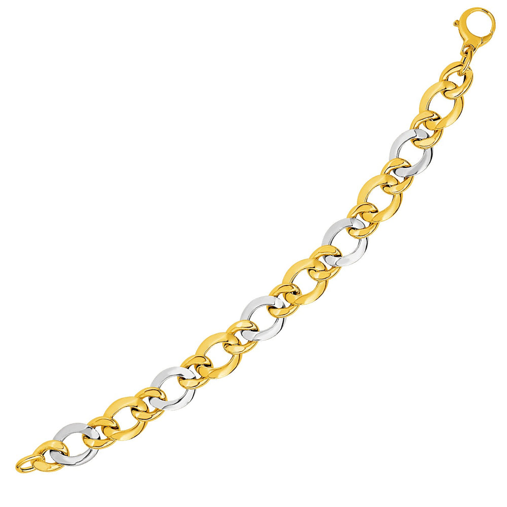 14k Two-Tone Yellow and White Gold Alternating Size Link Bracelet
