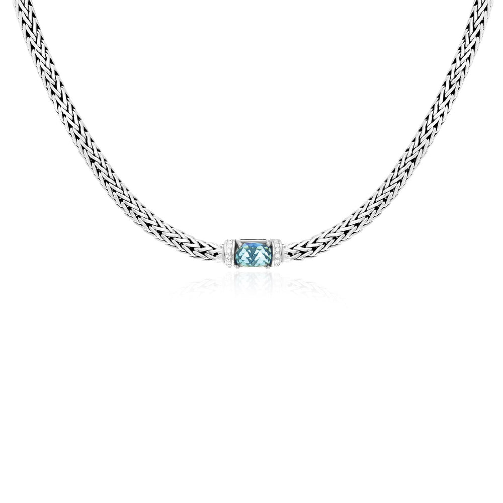 Sterling Silver Woven Chain Necklace with  Blue Topaz and White Sapphires