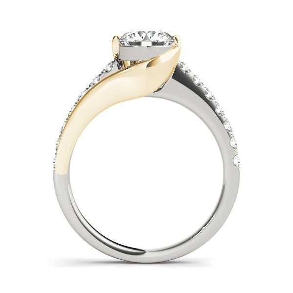 14K Two-Tone Gold Curved Split Shank Style Round Diamond Engagement Ring (1 1/4 ct. tw.)