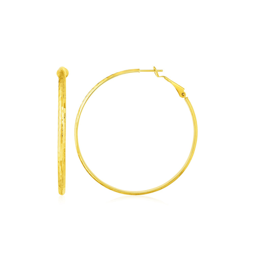 14k Yellow Gold Large Textured Round Hoop Earrings