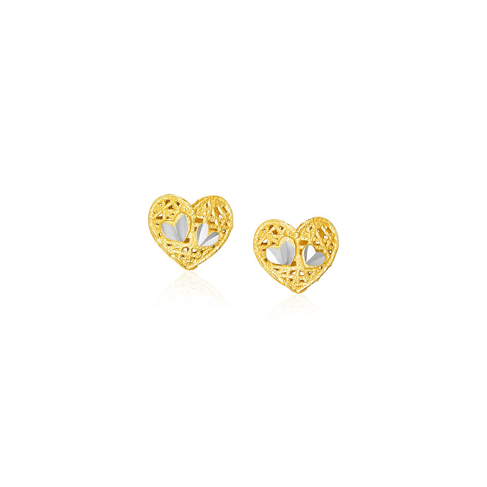 Filigree Style Heart Post Earrings in 14k Yellow Gold