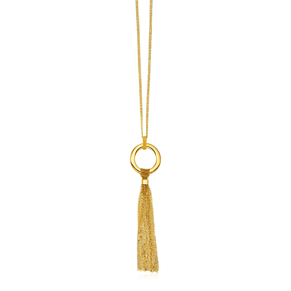 14k Yellow Gold 18 inch Necklace with Polished Circle and Tassel