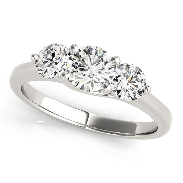 14K White Gold Classic 3 Stone Round Diamond Engagement Ring (1 ct. tw.)