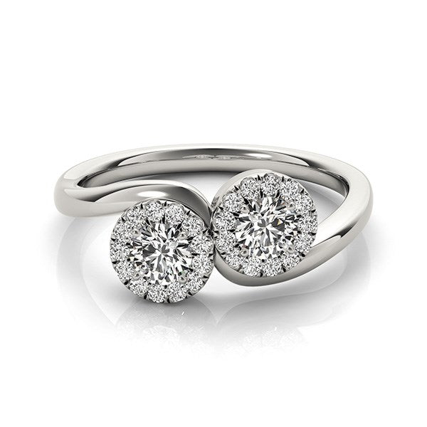 14K White Gold Halo Set Round Two Stone Diamond Ring (3/8 ct. tw.)