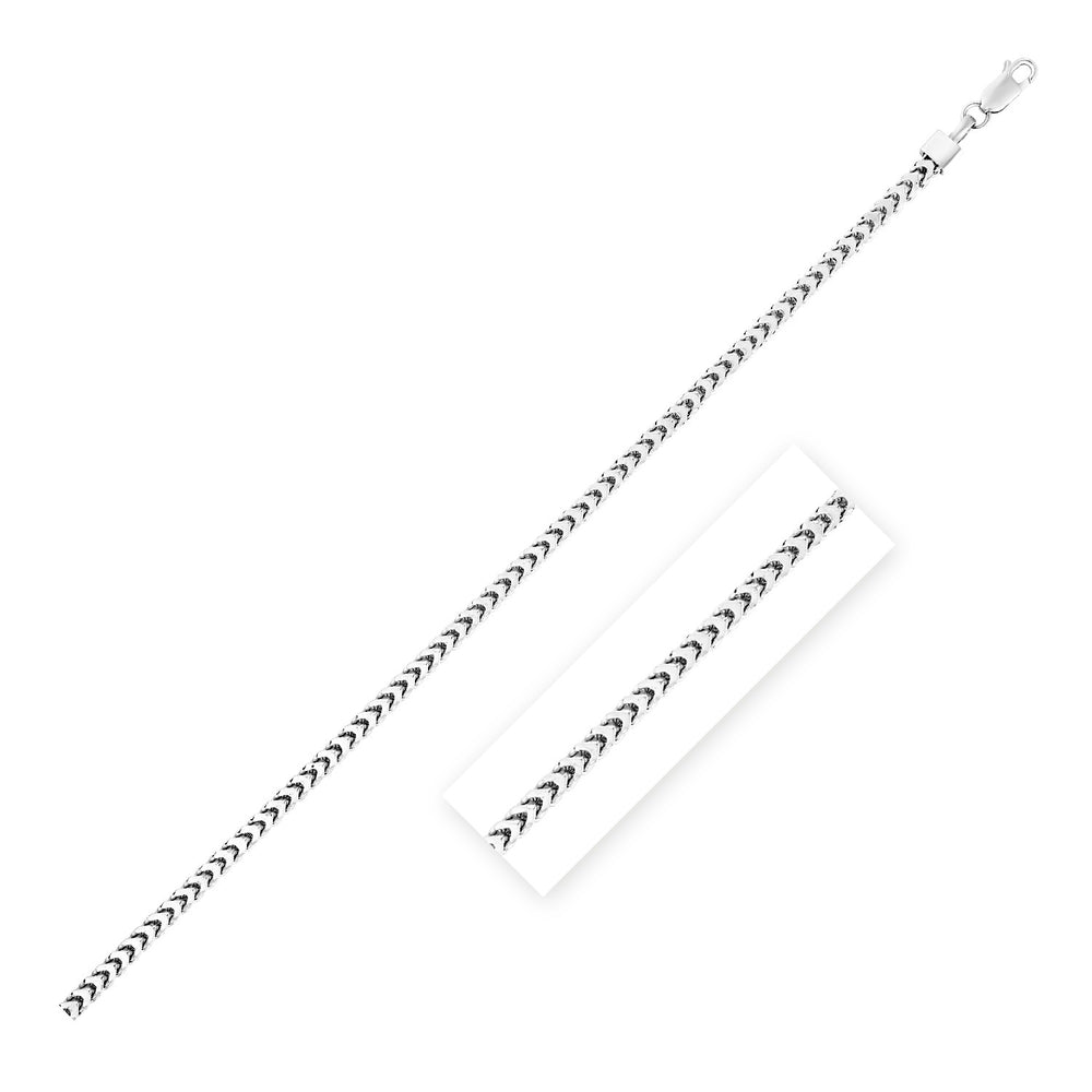 Sterling Silver Rhodium Plated Square Franco Semi Solid Chain 3.5mm