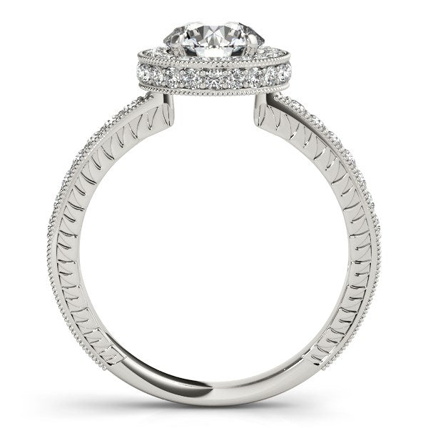 14K White Gold Milgrain Border Diamond Pave Round Cut Engagement Ring (1 1/2 ct. tw.)