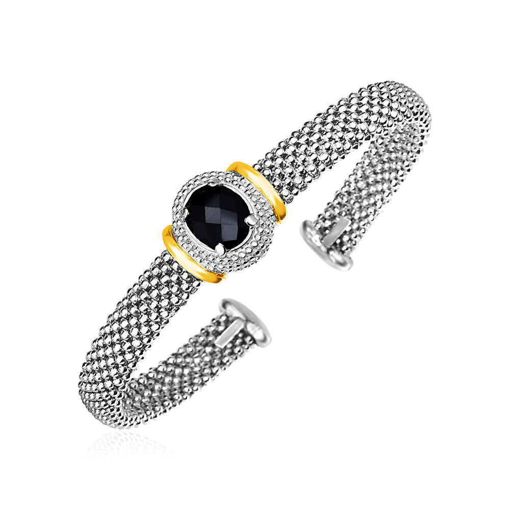 Popcorn Cuff Bangle with Oval Onyx in Sterling Silver and 18k Yellow Gold