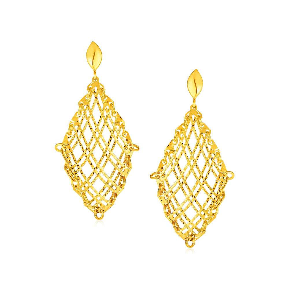 14k Yellow Gold Post Earrings with Open Checkerboard Pattern Dangles