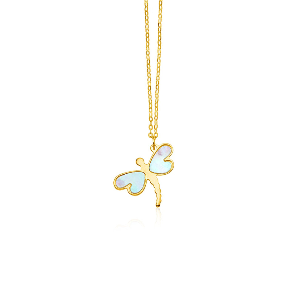 14k Yellow Gold Dragonfly Necklace with White Mother of Pearl