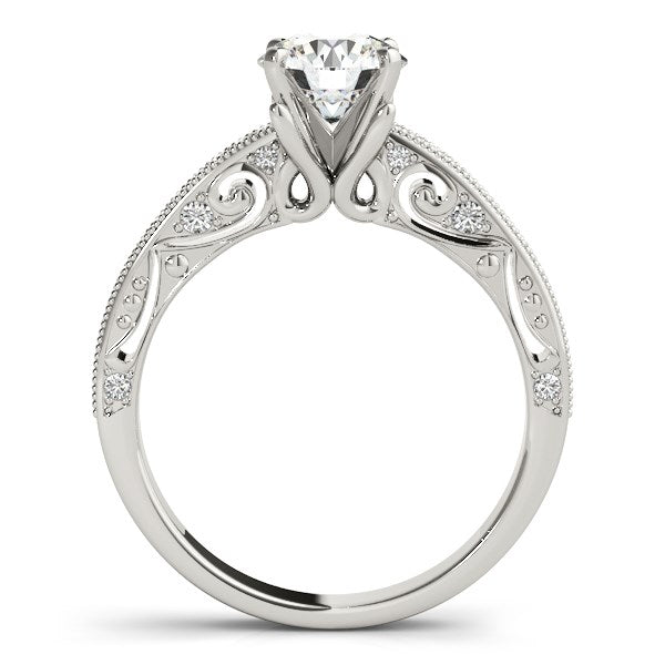 14K White Gold Antique Pronged Round Diamond Engagement Ring (1 1/8 ct. tw.)