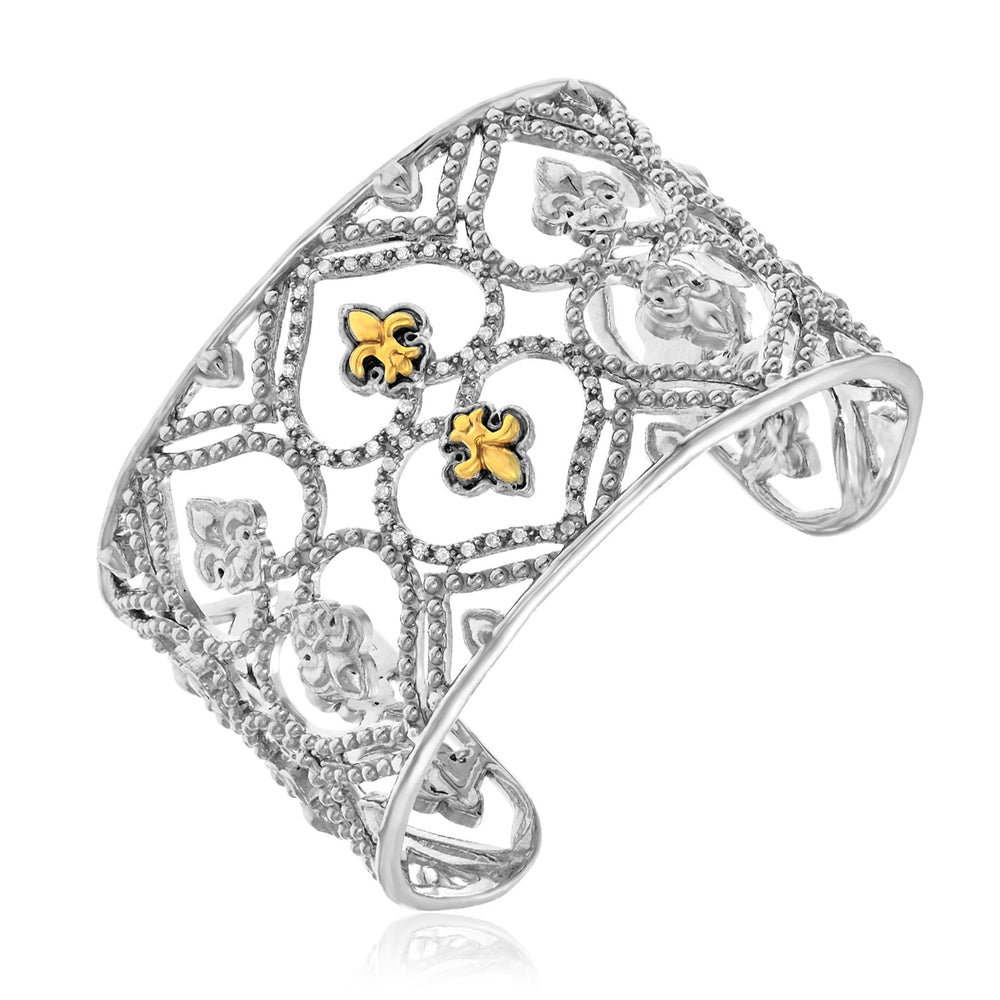 18k Yellow Gold & Sterling Silver Byzantine Style Cuff with Diamonds