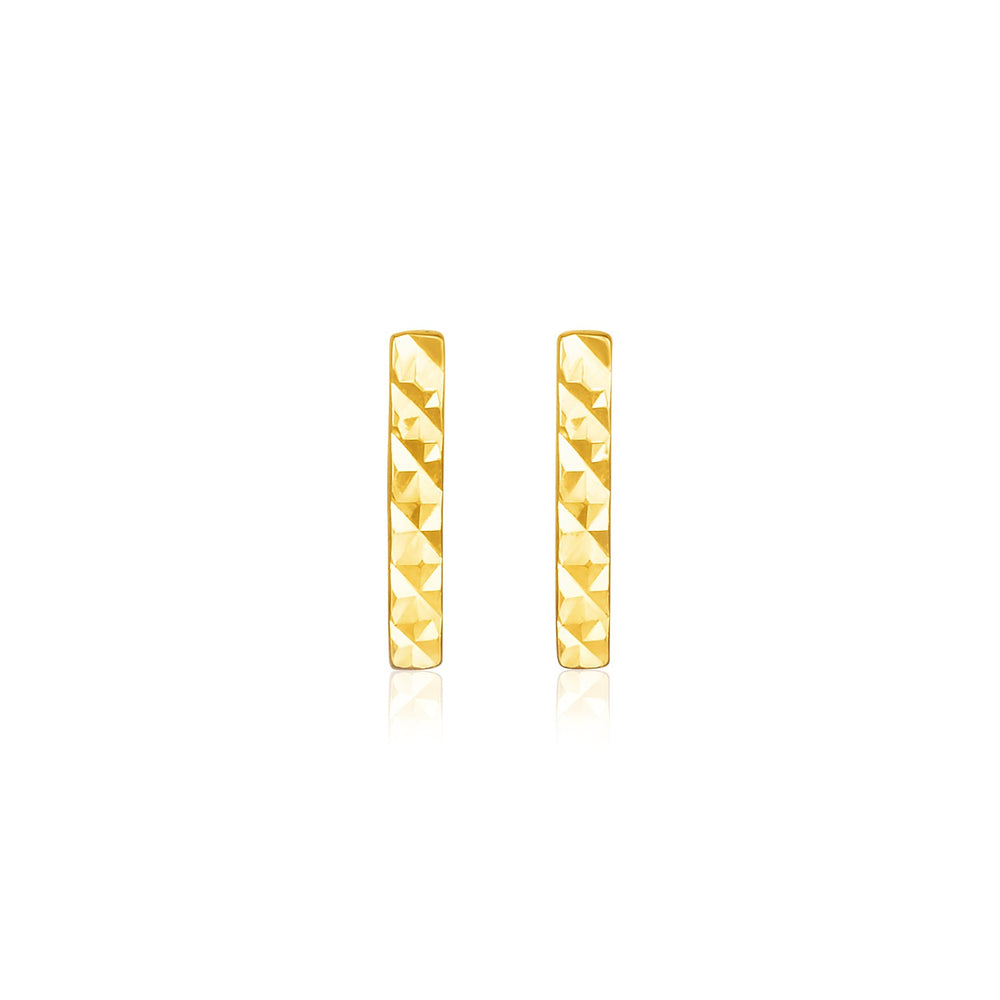 14k Yellow Gold Textured Bar Earrings