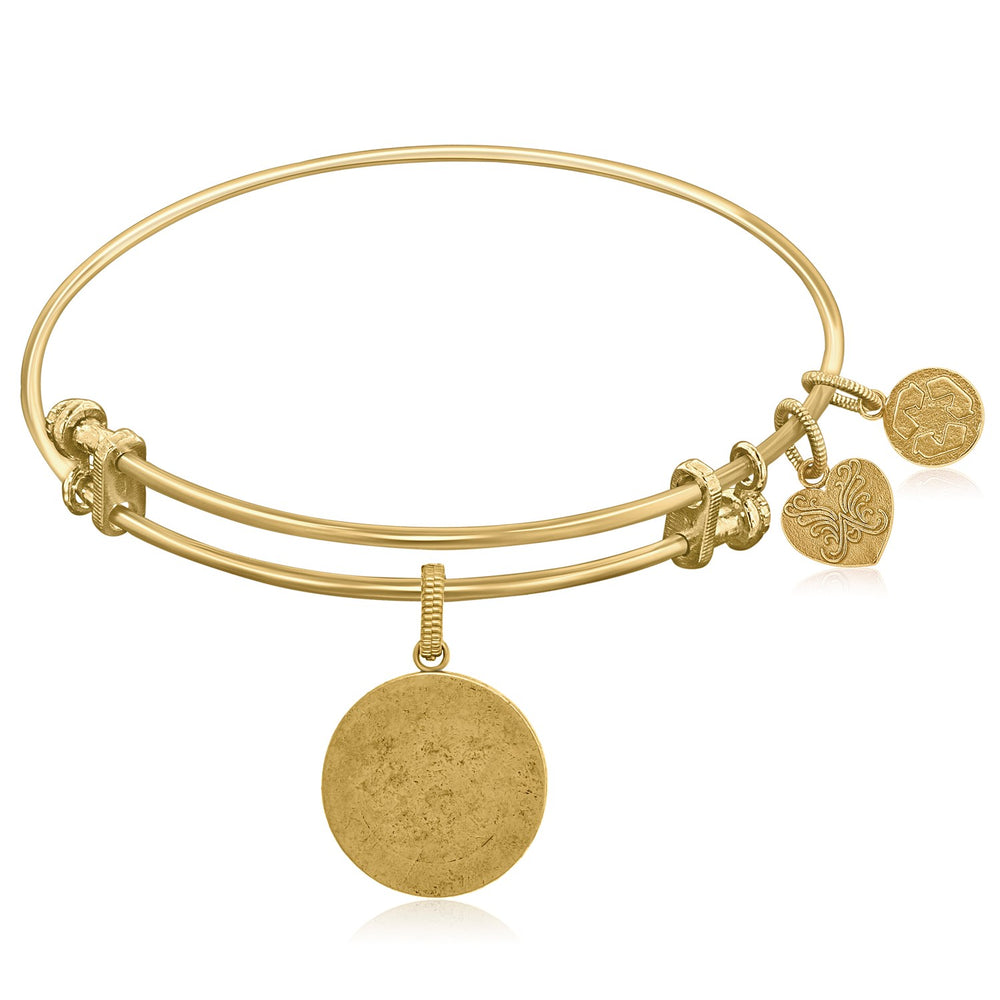 Expandable Yellow Tone Brass Bangle with Round Engravable Symbol