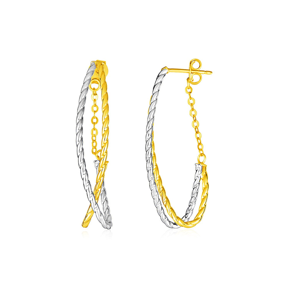 14k Two Tone Gold Two Part Oval Textured Hoop Earrings with Chain