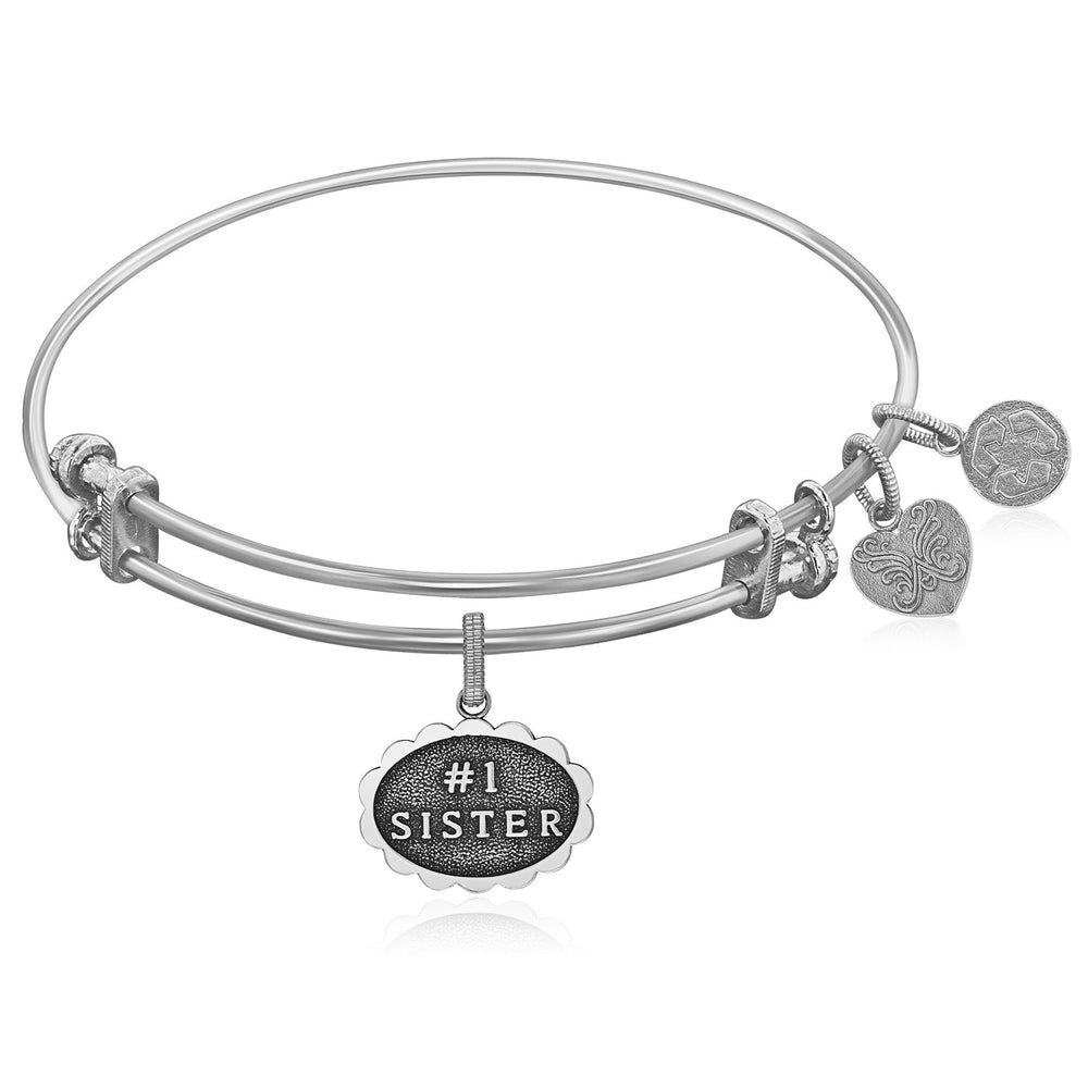 Expandable White Tone Brass Bangle with #1 Sister Symbol