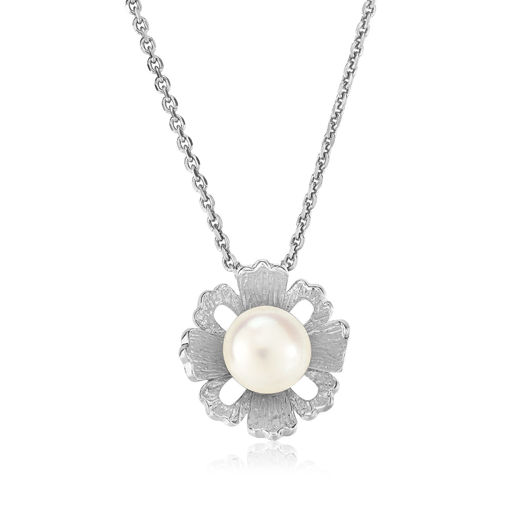 Sterling Silver Pendant with Flower Motif and Freshwater Pearl