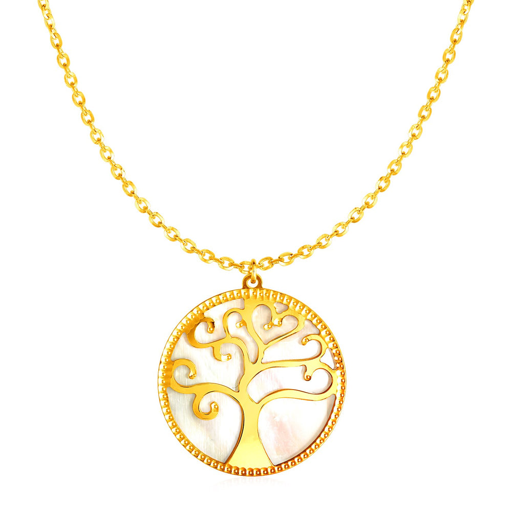 14k Yellow Gold and Mother of Pearl Tree of Life Necklace
