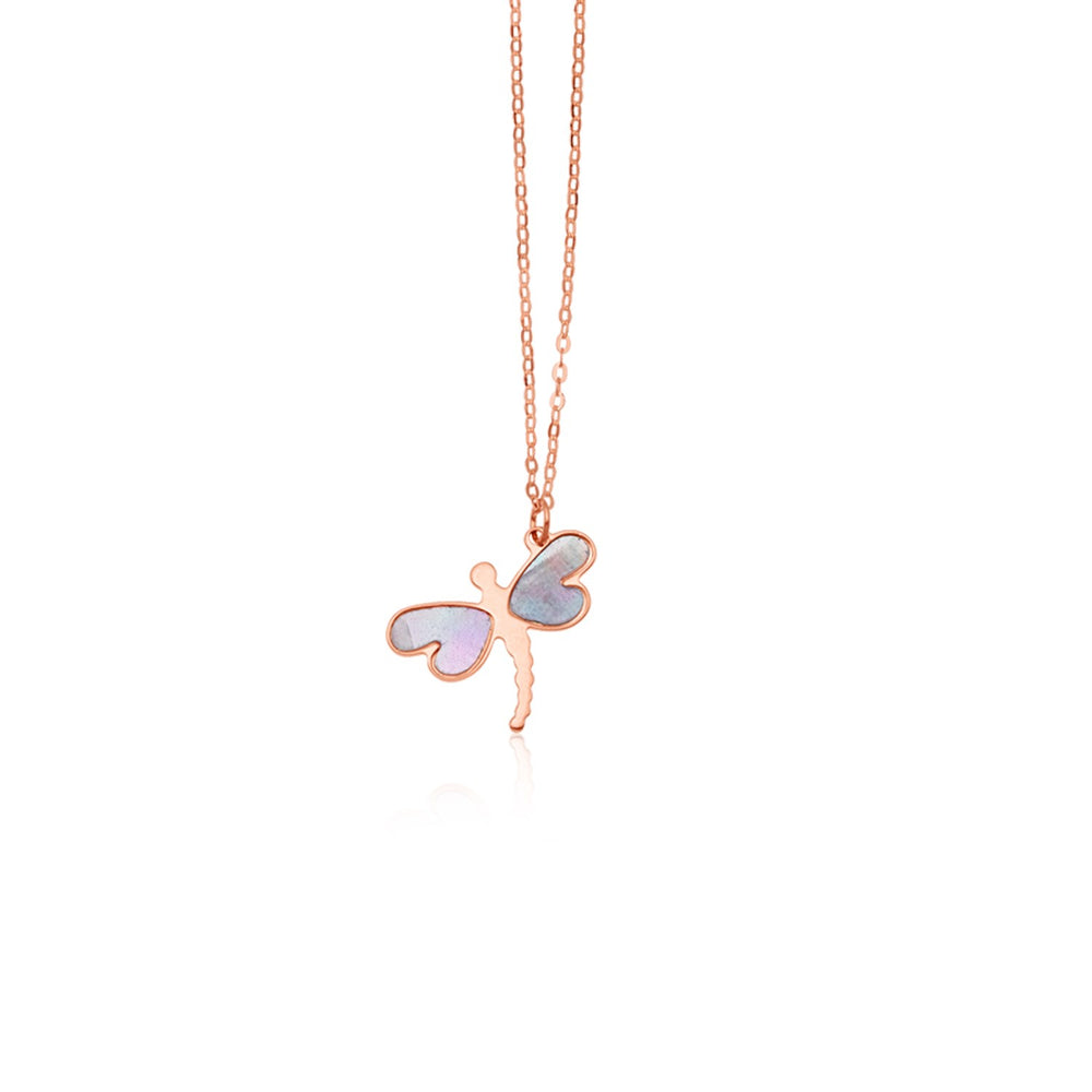 14k Rose Gold Dragonfly Necklace with White Mother of Pearl