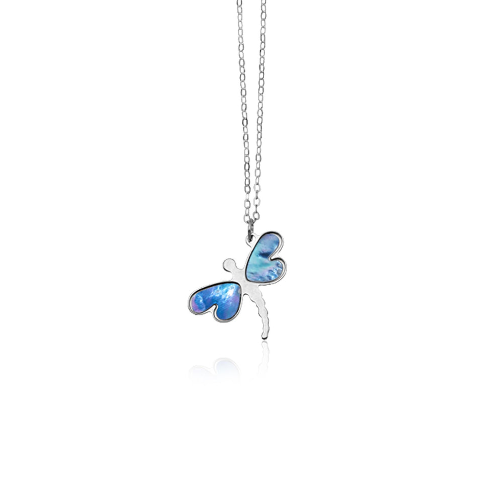 14k White Gold Dragonfly Necklace with White Mother of Pearl