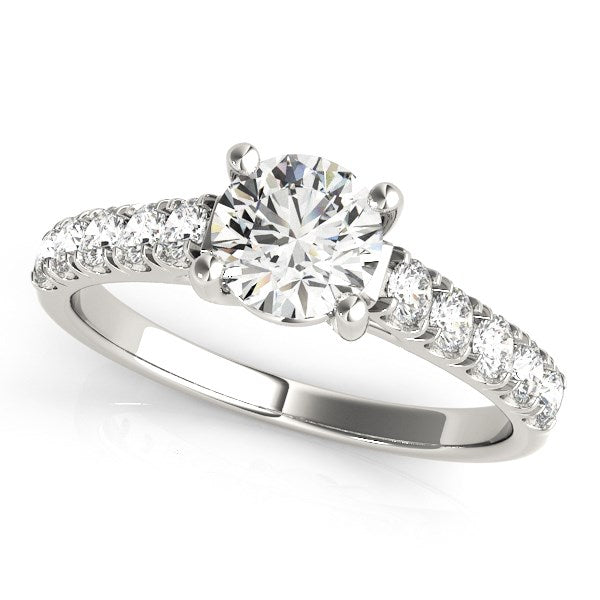 14K White Gold Round Trellis Setting Diamond Engagement Ring (1 ct. tw.)