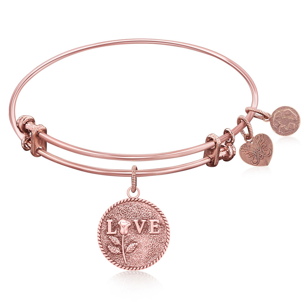 Expandable Bangle in Pink Tone Brass with Love Special Message Symbol