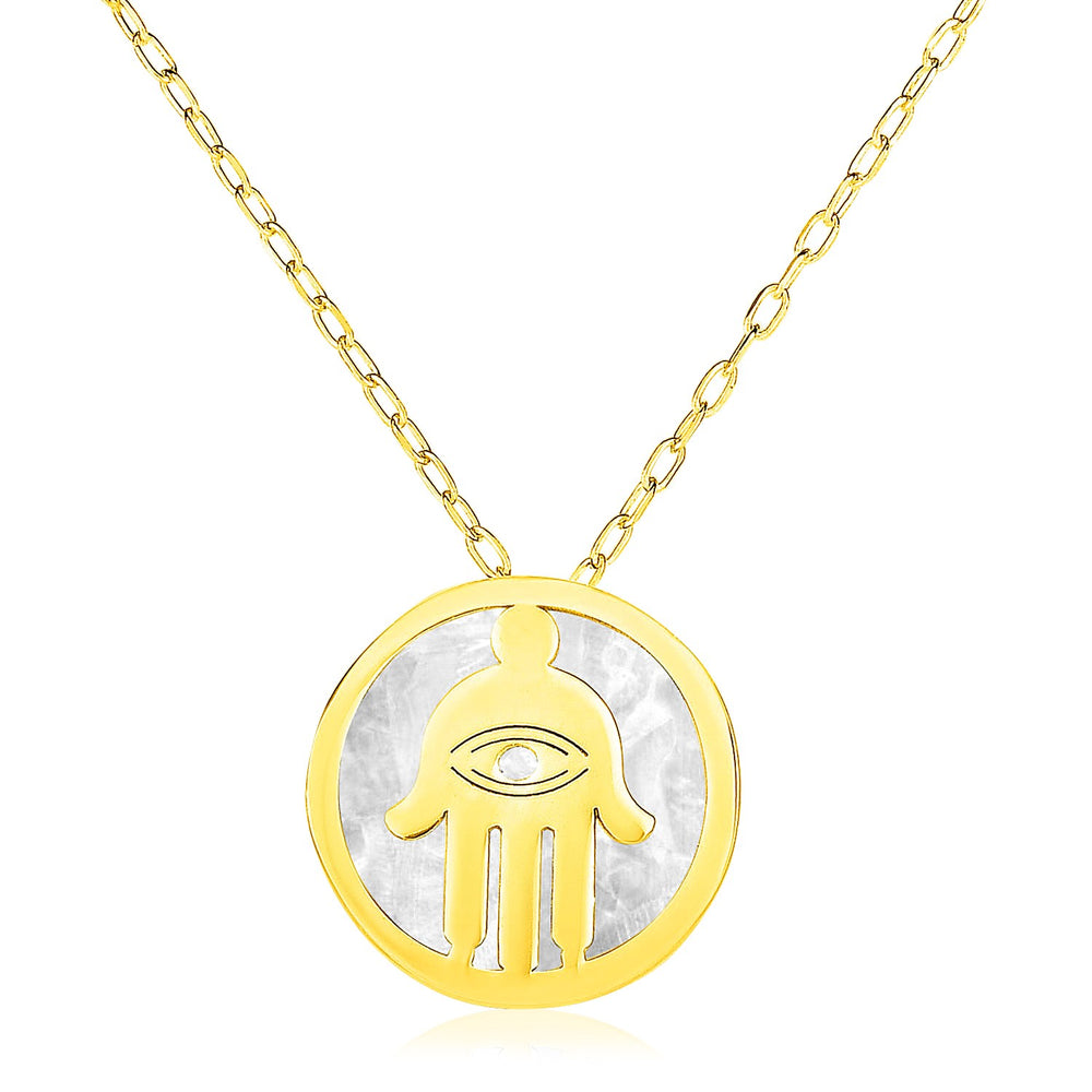 14k Yellow Gold Necklace with Hand of Hamsa Symbol in Mother of Pearl
