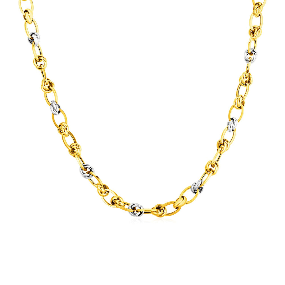 14k Two Tone Gold Oval Link Necklace