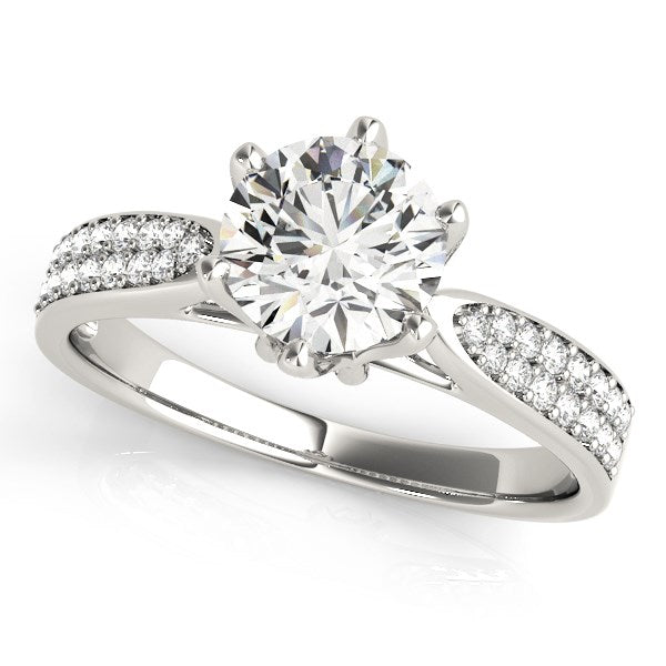 Six Prong 14K White Gold Round Diamond Engagement Ring with Pave Band (1 5/8 ct. tw.)