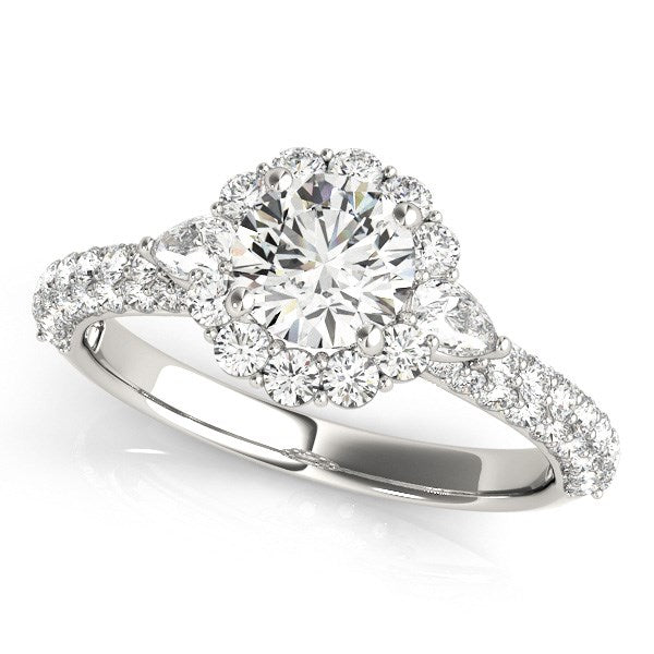 14K White Gold Halo Round Diamond Engagement Pave Band Ring (2 ct. tw.)