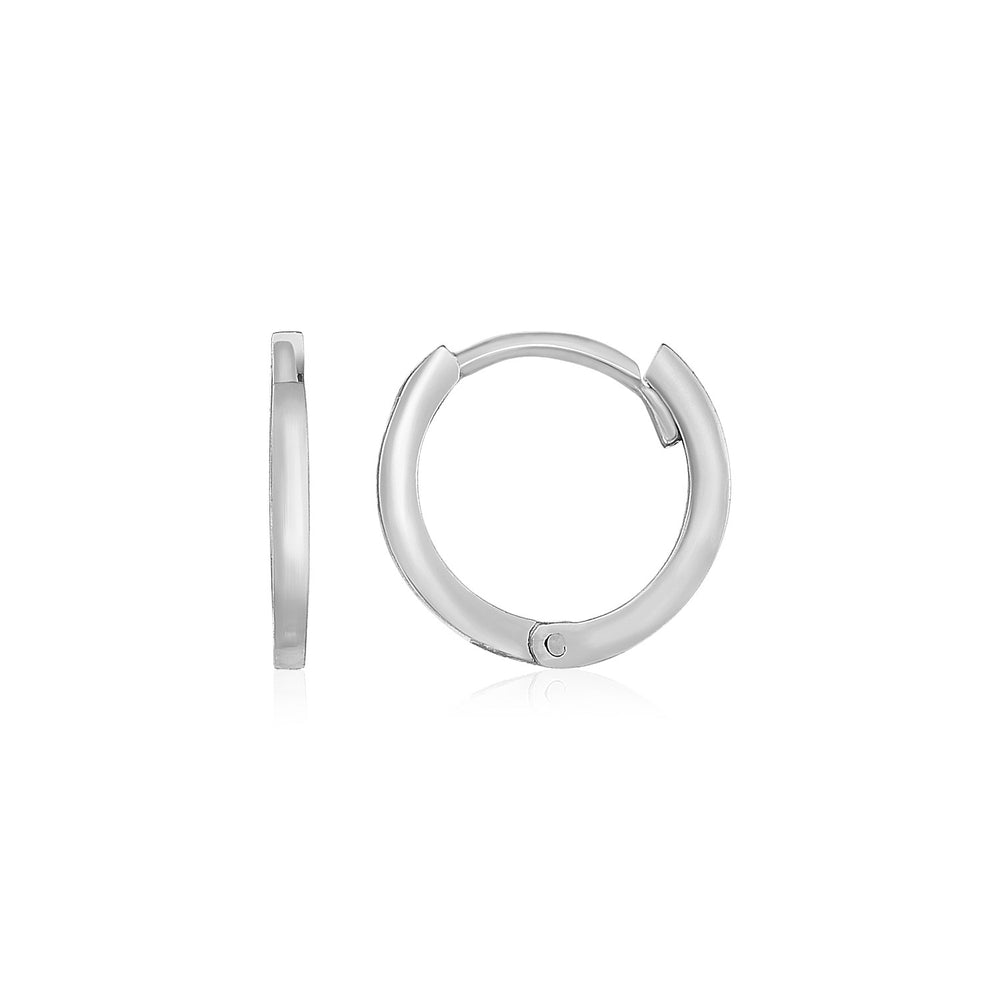 14k White Gold Petite Polished Round Hoop Earrings