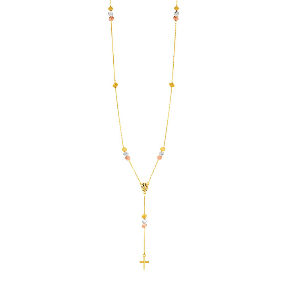 14k Tri Color Gold Rosary Style Necklace