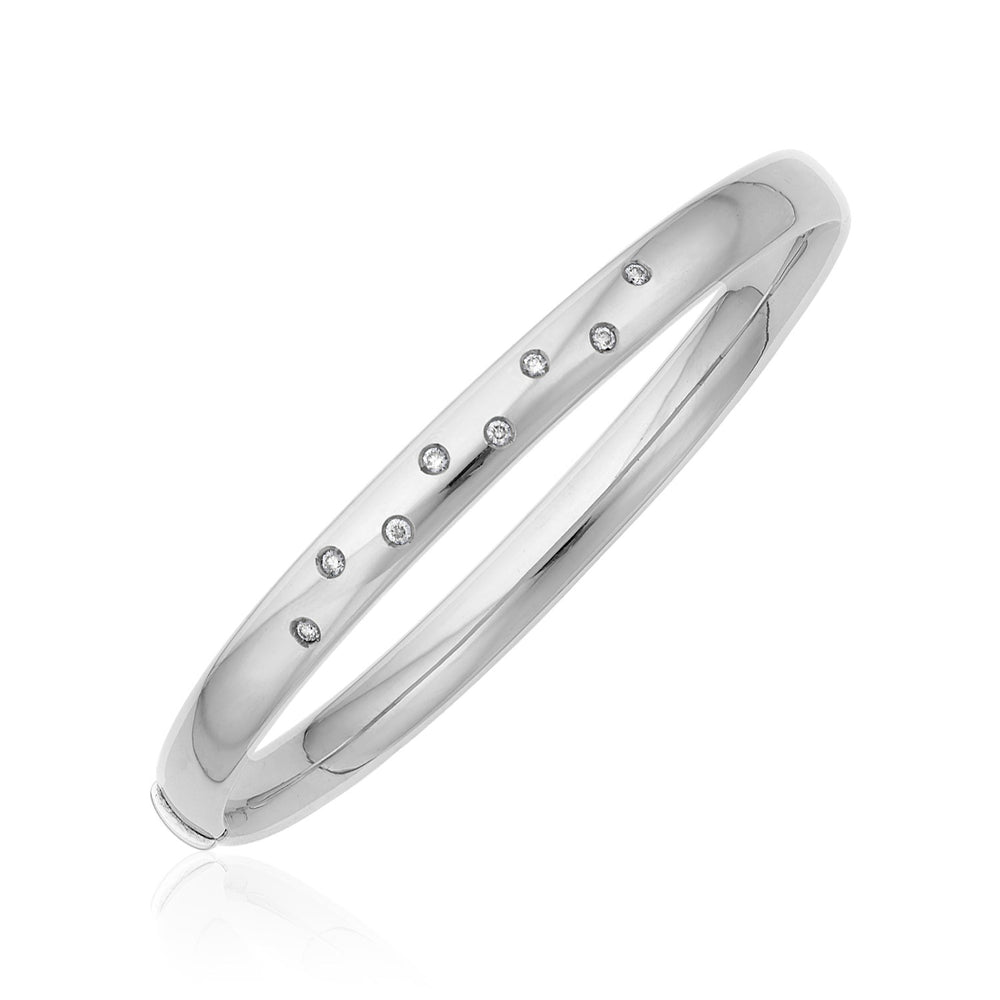 14k White Gold Rounded Bangle with Diamonds