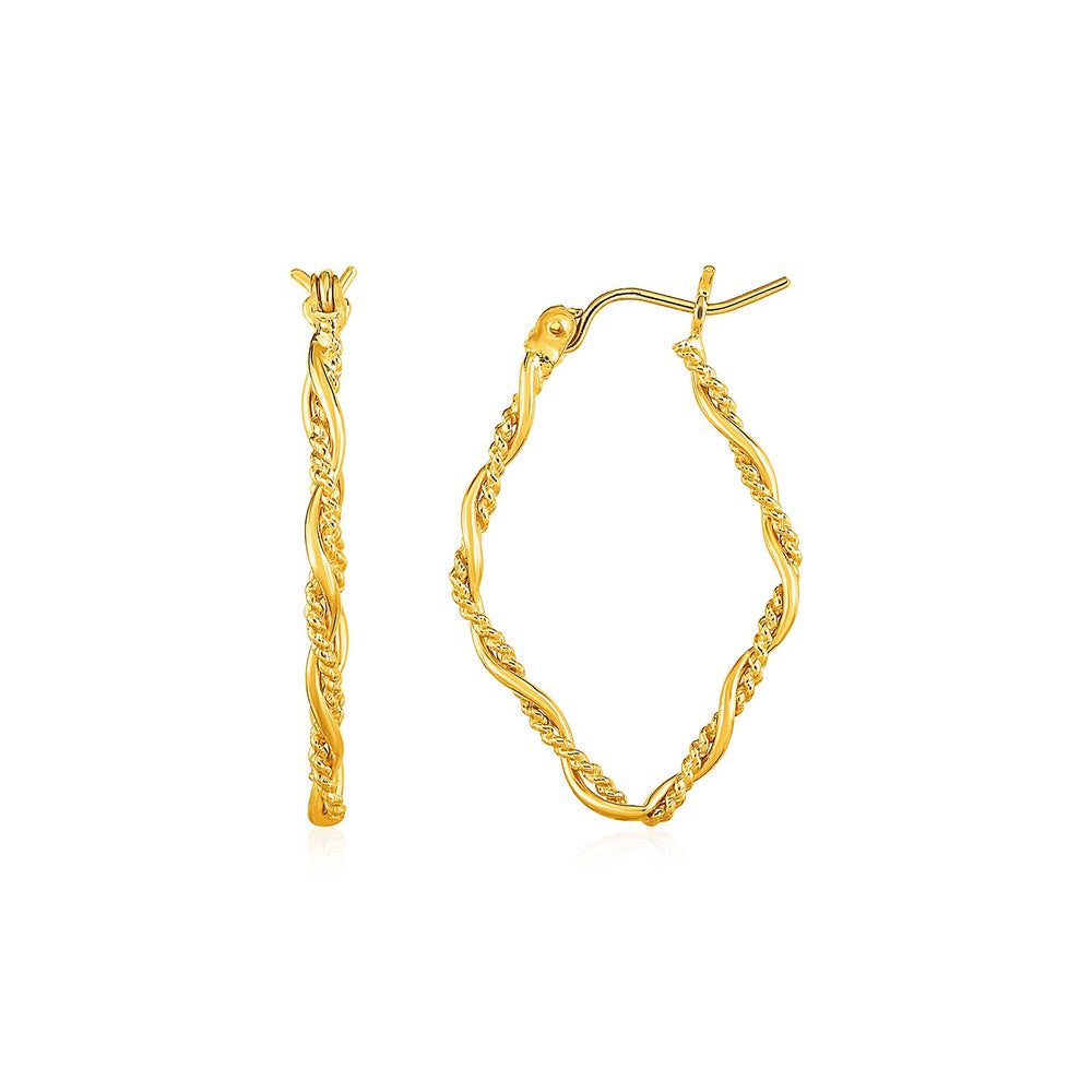 Textured and Shiny Twisted Diamond Shaped Hoop Earrings in 14k Yellow Gold