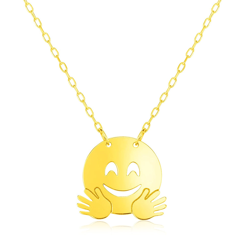 14k Yellow Gold Necklace with Hugs Emoji Symbol