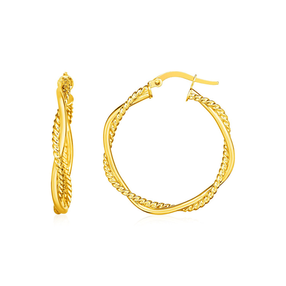 14k Yellow Gold Two Part Textured Twisted Round Hoop Earrings