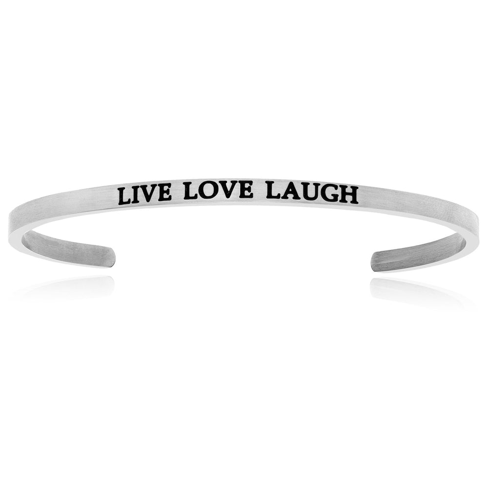 Stainless Steel Live Love Laugh Cuff Bracelet