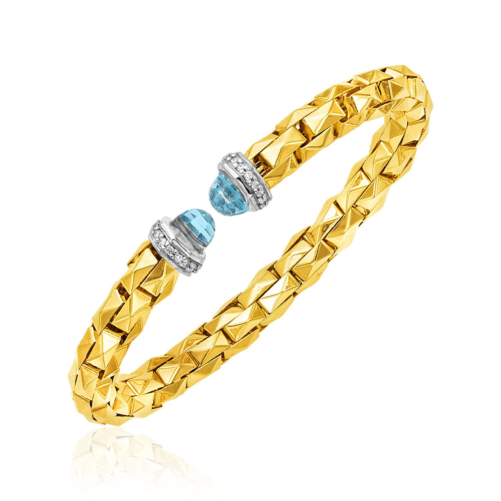 14k Two Tone Gold Pyramid Link Cuff with Diamonds and Blue Topaz
