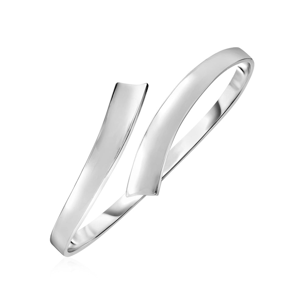 Shiny Bypass Style Bangle in Sterling Silver